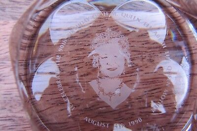 Queen Mother Glass Paperweight 90Th Birthday Royal Doulton Royal Clearance