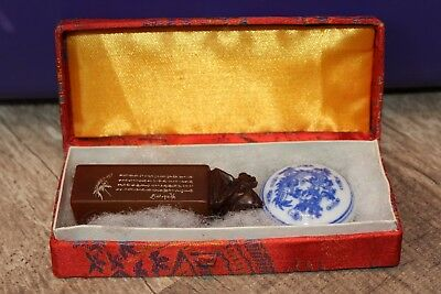 Asian Art Chinese Carved Bird Stone Wax Stamp Seal Set W/Box
