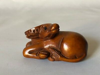 "Vintage Hand Carved Wood Japanese Reclining Ox Netsuke 2 1/8"" Signed"