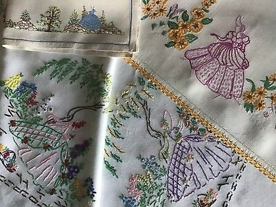 3 Pieces Vintage Hand Embroidered Table Linens ~ Beautiful Crinoline Ladies