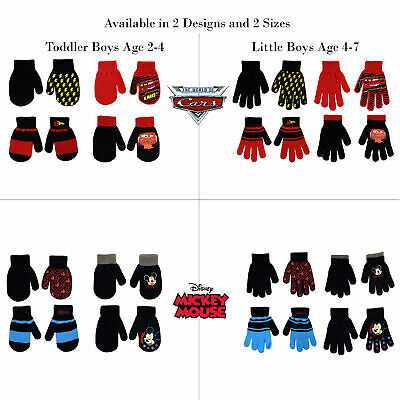 Disney 4 Pair Gloves or Mittens Cold Weather Set, Little Boys, Ages 4-7