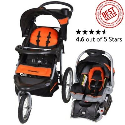 Modern Fit Mom ActiveJogger Baby Stroller and Travel Car Seat System Set, Orange
