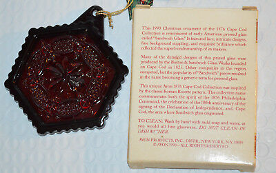 AVON The 1876 Cape Cod Collection 1990 Glass Christmas Ornament Excellent in Box
