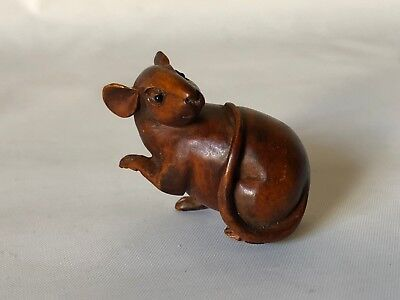 "Vintage Hand Carved Wood Japanese Playful Mouse Netsuke 1 5/8"" Signed"