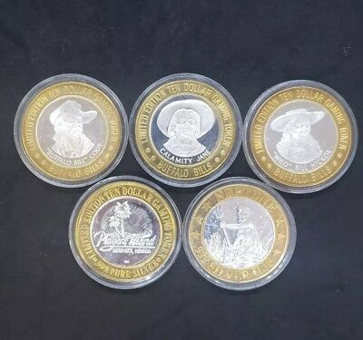 Lot of 5 Gaming Tokens,Three Buffalo Bill, One Players Island, One HSP Neptune.