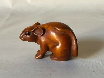 "Vintage Hand Carved Wood Japanese Sneaky Mouse Netsuke 2"" Signed"