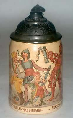 "1/2 Liter  Mettlach  Beer Stein #1909/715 ""Characters From Student Songs"""