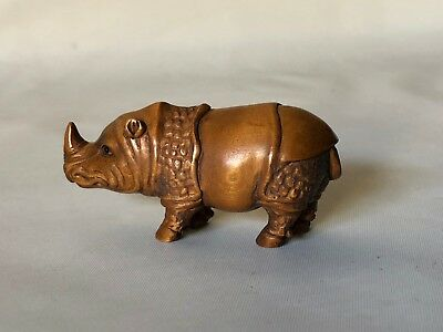 "Vintage Hand Carved Wood Japanese Rhino Rhinoceros Netsuke 2.75"" Signed"