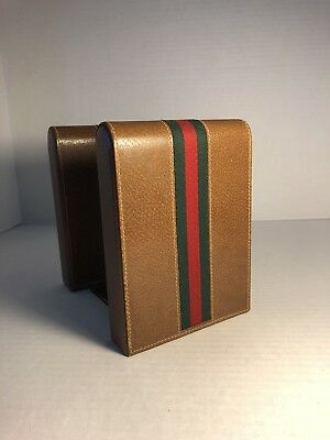 Vintage GUCCI Leather Red & Green Webbing Bookends Desk RARE