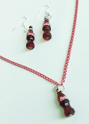 Coca cola miniature red bottles charm necklace earrings silver plated hooks