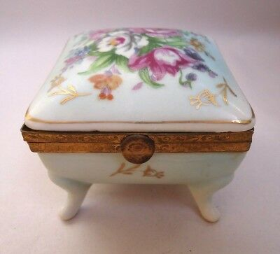 Antique Hand Painted Floral Porcelain Brass Hinged Trinket Box Marked 53/308