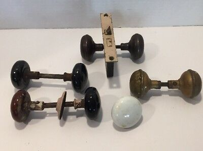 White And Black Porcelain Vintage Door Knob Plus Brass, Metal Lot Of 9 Knobs