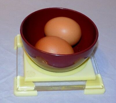 Vintage Art Deco Yellow & Clear Bakelite / Celluloid Stand & Red Bakelite Bowl