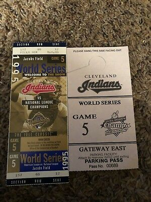 1995 Cleveland Indians Game 5 World Series Ticket & Used Parking Pass.