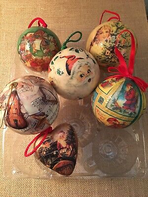 Vintage Decoupaged Christmas Ornaments-Lot of 6