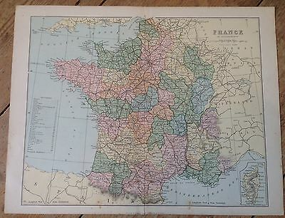 1870's ? WILLIAM MACKENZIE ENGRAVED  MAP OF FRANCE 12.25 X 9.5