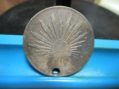 1870's - Mexico  - 8 Reales - Silver Crown - Holed           (H-60)