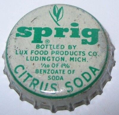 Sprig Citrus Soda Bottle Cap; Ludington, Mich., Lux Foods Products; Used Cork
