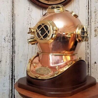 Navy Style Replica Polished Brass and Copper Diving Helmet