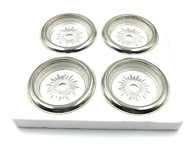 Vintage Leonard Coasters Silver Plate Rimmed Glass Made in Italy