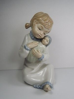 Vintage Lladro Nao Young Girl with Doll Porcelain Figurine.