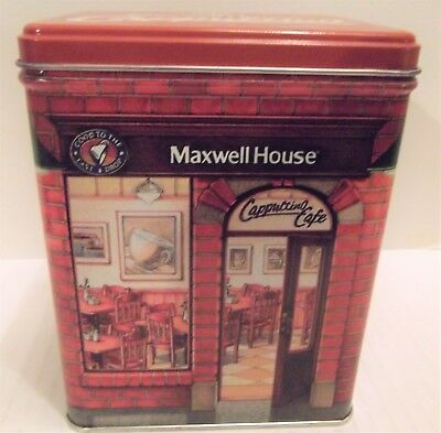 Maxwell House Cappuccino Cafe Coffee Tin / Collectible Coffee Canister