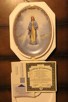 Bradford Exchange Visions Of Our Lady Plate Our Lady of Grace w/COA