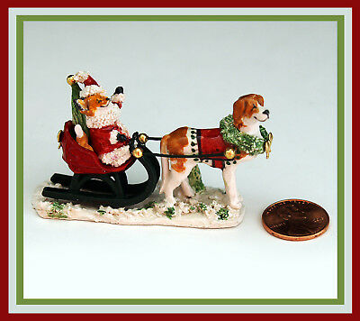 Sonnett Orig. Ceramic Mini Sculpture ~ Santa FOX Bringing Home the Tree ~ OOAK!