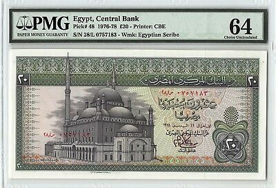 Egypt 1978 P-48 PMG Choice UNC 64 20 Pounds