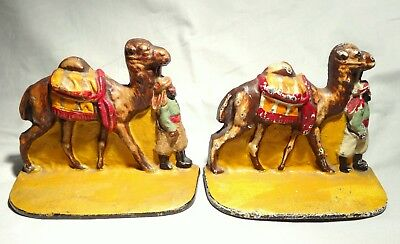 Rare Pair of Vintage Cast Iron, Painted Bookends – Camel and Driver