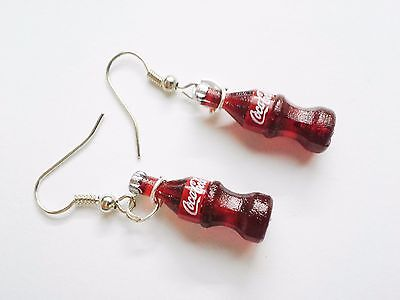 Coca cola coke red toy bottles miniature charms earrings stainless steel hooks