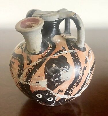 Museum Copy Greek Cretian 1200Bc Jug Urn Vessel Octopus Hand Painted Museum Tag