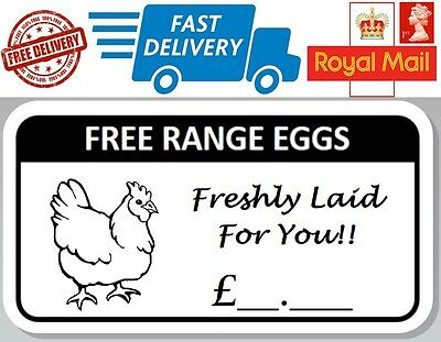 100 x Free Range Egg Box Stickers With Price Hen Labels Freshly Laid
