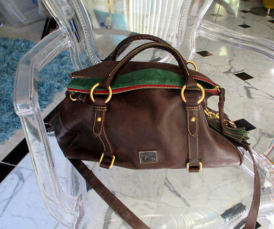 Dooney & Bourke Florentine Brown Buckle Satchel Large Purse Pebbled Leather