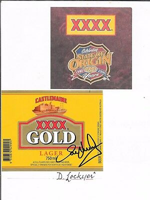 Darren Lockyer ~  Qld Rugby League Legend ~ Hand Signed Beer Label~ Xxxx Gold
