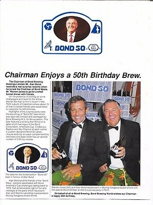 Alan Bond -Chairman Bond Brewing -News Article & Rare Limited Edition Beer Label