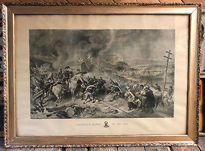 1883 Sherman's March to the Sea Civil War Print by F.O.C. Darley by HH Willes