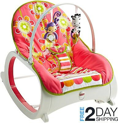 Fisher Price Infant Toddler Rocker Floral Confetti Baby Playing Vibration Toys