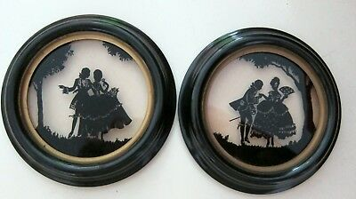 2 Antique Framed Hand Cut Out Silhouette When Love Was Young Victorian Couple