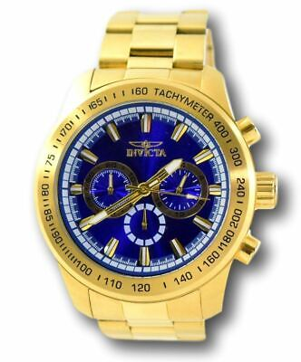 Invicta 21797 Speedway Men's Blue Dial Gold Stainless Chronograph Watch 48mm