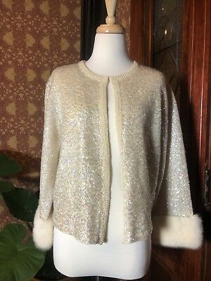Vintage Sequined Sweater  With Mink Cuffs