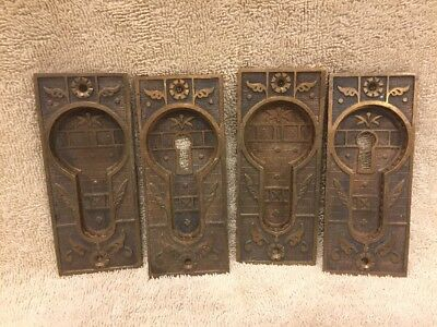Antique Four Brass/Bronze Fancy Victorian Pocket Door Plates Escutcheons