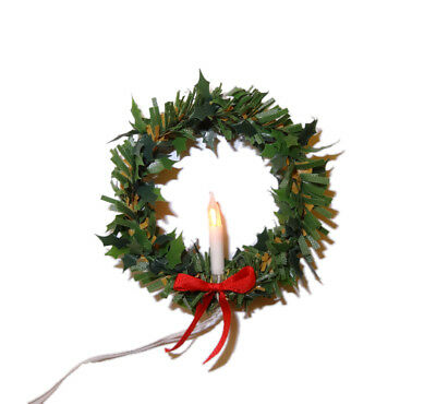 Dollhouse Lighting Christmas Candle Wreath Handcrafted Miniatures for Doll House