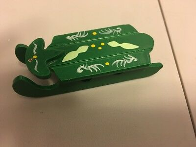 vintage Miniature Dollhouse Wood Chirstmas Hand Painted Green Sled