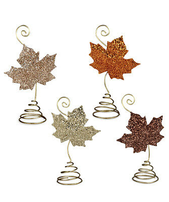 Bethany Lowe Elegant Leaf Fall Thanksgiving Place Card Holder Set/4 Decorations