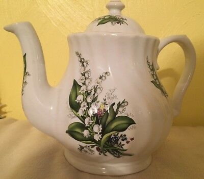 Teapot E&R Golden Crown England White Lilly's Fine China