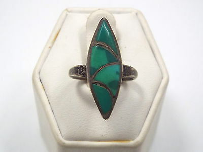 Vintage Native American Silver & Green Turquoise Inlay Design Ring, size 5.75