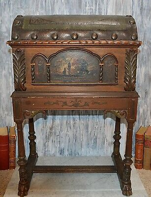 Antique Tobacco Humidor Trunk Wood Table Lion Feet Leather Nailhead Pictorial