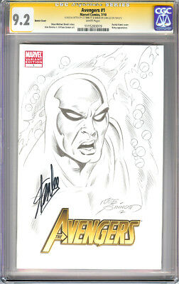 Avengers #1 2010 Cgc Ss Signed Sketch Silver Surfer Joe Sinnott Signed Stan Lee