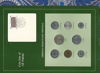 Coin sets of all nations East Germany w/card 1979-1987 UNC 5 Mark 1980 1 Mark 87